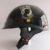 Wholesale Helmet Half Dot - DOT Approved Open face Motorcycle Helmet Red Blue skull Half face Motorbike kask Cruiser Vintage Harley Helmets M L XL Size