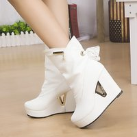 Wholesale Korean Brand Boots - Wholesale- 2015 Women New Brand Designer Korean Martin Boots Lady Elegant High Heel Ankle Shoes Girl Fashion Lace Wedge Motorcycle Boots