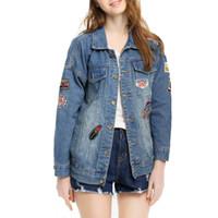 Wholesale Jeans Jacket Cool - Women Spring Autumn Denim Jackets Fashion Girls Streetwear Women Jeans Outerwaer Cool Girl Denim Blue Coats
