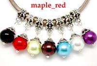 Wholesale European Dangle Pearl - Wholesale 100pcs   lot Mixed Beautiful Round Imitation Pearl Acrylic Beads 10mm Dangle Pendants fit European Bracelet & Necklace