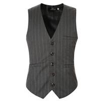 Wholesale Mens V Neck Striped Collar - Wholesale- Men Suit Vest Black Grey V neck Collar Classic Dress Slim Fit Vests Male Sleeveless Brand Mens Formal Wedding Waistcoat 5XL 6XL