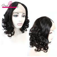 Wholesale U Part Wig Styles - Brazilian Hair Lace Wigs U Part Loose Wave Style U-Part Lace Front Wigs for Black Women Cap Size Adjustable