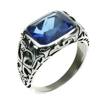 Wholesale Rings Men 925 - Wholesale- Real Pure 925 Sterling Silver Rings For Men Blue Natural Crystal Stone Mens Ring Vintage Hollow Engraved Flower Fine Jewelry