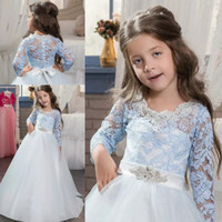 Wholesale flower girl ivory beaded belts resale online - White And Light Blue Lace Flower Girl Dresses For Wedding Long Sleeves Girls Pageant Gowns With Beaded Belt Floor Length Party Dress