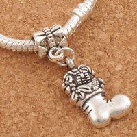 Wholesale Metal Antique Charms Wholesale - Christmas Stockings Big Hole Beads 100pcs lot 30.5x13.5mm Antique Silver Dangle Fit European Charm Bracelets Jewelry DIY B253
