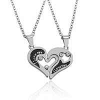 Wholesale Couple Necklace Design - 2016 New Design I Love You Heart Shape Pendant Necklaces 2 Parts Broken Heart Crystal Choker Necklace For Lover Couple Jewelry