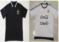 Wholesale Man S Fasion - Camisetas de Futbol Argentina Messi jerseys Fasion Maillot de Foot Argentina Black White footabll training polo shirts 2017
