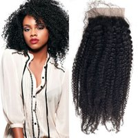 Wholesale Silk Top Hair Closure Curly - Afro Kinky Curly Top Silk Base Closure Bleached Knots Virgin Brazilian Curly Hair Closures 8-22inch fdshine