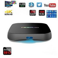 Wholesale t95r pro - T95R PRO TV Box Android Amlogic S912 Octa core G G Android7 TV Box WiFi G BT4 H K Media Player Box