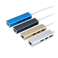 Wholesale Wholesale Ethernet Hubs Ports - Aluminum Alloy USB 3.0 to RJ45 Lan Card Gigabit Ethernet Network Adapter 3 Port HUB For Windows 7 8 10 XP MAC