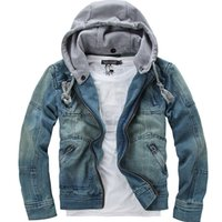 Wholesale Denim Top Jacket - tops cotton Free shipping Mens Denim jacket Hoodie outerwear hooded Winter hoodie cowboy wear