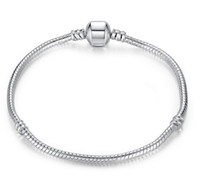 Wholesale Pandora Barrel Clasp - 3mm 16-23cm 925 Silver Plated Bracelet Snake Chain with Barrel Clasp Fit European Beads Pandora Bracelets DIY