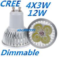 mr16 led 12v sıcak beyaz toptan satış-CREE 12 W GU10 MR16 E27 GU5.3 B22 E14 Led downlight Dim Led DownLight Spot Işıkları Lambaları 4x3 W Sıcak / Soğuk / Saf Beyaz Ücretsiz Kargo