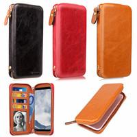 apple iphone магнитная кобура оптовых-Универсальный кожаный чехол для телефона из искусственной кожи для iPhone Samsung LG Sony Сумочка с прорезями для карт Молния Магнитная поверхность Кобура