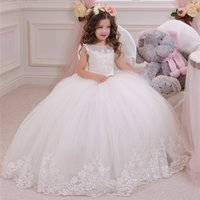 Wholesale Ivory Silk Wedding Flower Balls - Elegant White Ivory Formal Ankle Length Flower Girl Dress Tribute Silk Tulle Tiered Girls Ball Gowns First Communion Dress 2017