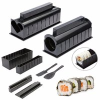 Wholesale Easy Sushi Machine - 10Pcs Set Pack Sushi Making Kit DIY Easy Sushi Maker Machine Set Rice Roller Mold Roller Cutter Multifunctional Mould Making Sushi Tools