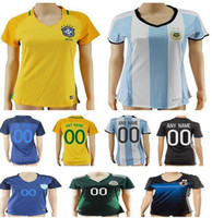 Wholesale Girls Red Shirts - Women Soccer Jersey Colombia Yellow Mexico Green Brazil Blue White Argentina USA Red Japan Home Ladies Girls Football Kits Shirts