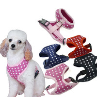 Wholesale Fashion Dog Collars Leashes - Wholesale Dog Harness Leash Stars Patterns Air Permeable 5 Sizes With Pets Collar Leash Harness Set 4 Colors Fashion Design Pet Supplies