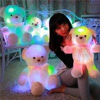 Wholesale Teddy Bear Romantic - Wholesale- 70cm Romantic Colorful Flashing LED Night Light Luminous Stuffed Plush Teddy Bear Doll Gifts for Kids Christmas Gifts