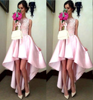 Wholesale Girls Under Wears - Baby Pink High Low Bridesmaid Dresses Cheap Sheer Neck Lace Appliques Formal Dresses Party Evening Wear Satin Girls Wedding Guest Gowns