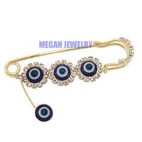 Wholesale Muslim Hijab Pins - Wholesale- islam muslim Scarf Hijab evil eye crystal Pin brooch