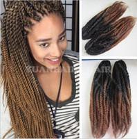 "Wholesale Kanekalon Braiding Hair Free Shipping - ombre marley braid Kanekalon synthetic braiding 20"" black brown two tone marley hair kinky twist for black women free shipping"
