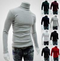 Wholesale Turtleneck Tee Shirts - Wholesale- Helisopus Men's Long Sleeved Turtleneck Sweater Solid Color Sweater Autumn Winter Knitting Shirts Slim Basic Tee Shirts