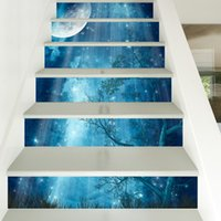 Wholesale Diy 3d Fairy Wall Stickers - 6 Pieces Set Creative DIY 3D Stairway Stickers Fairy Tale Forest Pattern for Room Stairs Decoration Floor Decals Wall Sticker