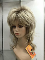 Wholesale Medium Length Blonde Wigs - Hivision fashion High quality blonde with medium brown root layered medium length synthetic women's full wigs