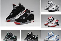 Wholesale Cheap Girls Black Leather Shoes - Cheap retro 4 GS Athletic Sports Toro Red Green Glow Oreo Valentines Day Basketball Shoes Sneakers Cheap Girl Retro 4s Sport size 12 shoes