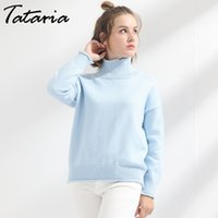 Wholesale Turtle Neck Sweaters Warm - Women's Winter Sweaters Thick Turtleneck Knitting Clothes Pullover Pull Femme Manche Longue Loose Warm Sweater Ladies Garemay