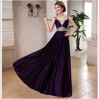 Wholesale Silk Maxi Evening Dress - Hot Sale Wholesale Double-Shoulder V-Neck Silk Beading Purple Evening Dress Bride Slim Wedding Party Dresses with High Quality