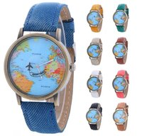Wholesale Leather Dresses Wholesale - Wholesale New women leather world map watch fashion plane printing ladies cowboy dress quartz wrist watches for women ladies