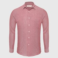 Wholesale british dress shirts - Wholesale- Dot Casual Shirt Male England Dress Shirt Pink Men Shirt Long Sleeve Cotton Fabric Slim Fit British Style School