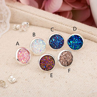 Wholesale Fashion Silver Plated Imitate Natural Stone Drusy Druzy Stud Earrings For Women Lady Jewelry NE075