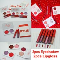 Wholesale Eyeshadow Lipgloss Set - In stock Kylie Valentines Lipstick + Eyeshadow palette Kyshadow Duos Kylie Jenner Eye shadow 2 Color Eye Shadow with lipgloss Valentine Gift