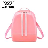 Wholesale Candy Jelly Hand Bags - Wholesale- W.D POLO New Silicon shinning leather women backpack sling lady chic essentials hand bags summer jelly candy color bag M1788