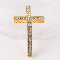 Atacado Gold Metal Sideways Cross Bracelet Crystal Rhinestone Connectors Jóias Findings 15 * 50mm