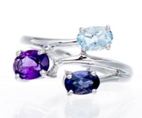 Hutang Solid 925 Sterling Silver Amethyst, Aquamarnine Iolite Gemstones Anello Per Donna Fine Jewelry