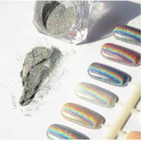Wholesale Diy Nail Magic - 1g Laser Silver Holographic Nails Glitters Powder DIY Nail Art Sequins Chrome Pigment Dust Shiny Magic Laser Mirror Powder Nails