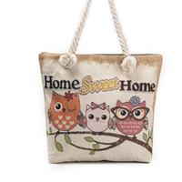 Wholesale Cartoon Owl Handbag - Fashion style owl embroidery women handbags vintage style cute cartoon canvas shoulder bags cheap messager bags wholesale