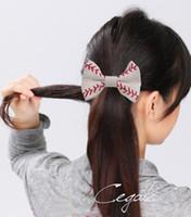 Wholesale ordering african hair for sale - Group buy new arrival Softball Baseball Hair Bows Team Order Bulk Listing