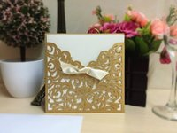 Wholesale Gold Bow Invitation - High Quality Lace Ribbon Bow Knot Wedding Invitation Card Vintage Laser Cut Gold Hollow Flowers Blank Inside With Envelope WA1617