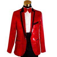Wholesale Xl Gold Sequin Top - ON SALE Top Quality Plus Size Mens Gold Blue White Red Sequins Tuxedo Suit Wedding Stage Performance Blazers Pant Suit