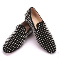 Wholesale Handcrafted Dress - Handcrafted men with black nubuck shoes and silver rivets with the same style of men's casual shoes, red men's flat shoes