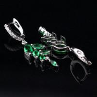 Wholesale Emerald Drops - Leaves Shaped Green Emerald Drop Dangle Earring For Women Silver Wedding Jewelry Free Jewelry Box DE16