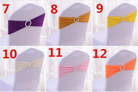 100pcs 24 cores Spandex Lycra Wedding Chair Cover Sash Bands Wedding Party Birthday Chair fivela sashe Decoração G015