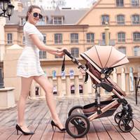neuer kinderwagen kinderwagen großhandel-Neue faltbare Kinderwagen Kinderwagen tragbare Kinderwagen für Neugeborene sitzen und liegen Kinderwagen Aluminiumrohr