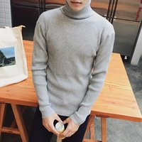 Wholesale Mens Thin Turtleneck - Wholesale- Turtleneck Sweater Men Casual Knitted Sweaters Men Pullovers Long Sleeve Male Turtle Neck Colorful Mens Sweaters
