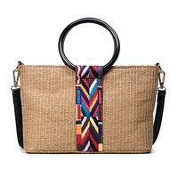 Wholesale Wooden Handle Clutch Bag - Summer Tote 2017 Round Wooden Handle Women's Handbags Straw Beach Bag Clutch Patchwork Leather Hand Bag Designer Purse C87
